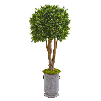 55 Boxwood Artificial Topiary Tree in Planter UV Resistant Indoor/Outdoor - SKU #9694