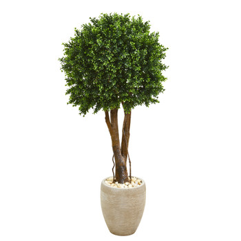 52 Boxwood Artificial Topiary Tree in Planter UV Resistant Indoor/Outdoor - SKU #9695