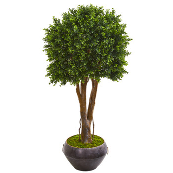 47 Boxwood Artificial Topiary Tree in Metal Bowl UV Resistant Indoor/Outdoor - SKU #9696