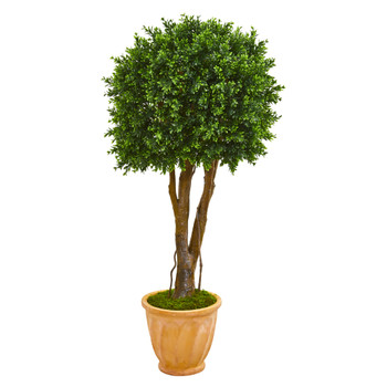 50 Boxwood Artificial Topiary Tree in Terra-Cotta Planter UV Resistant Indoor/Outdoor - SKU #9697