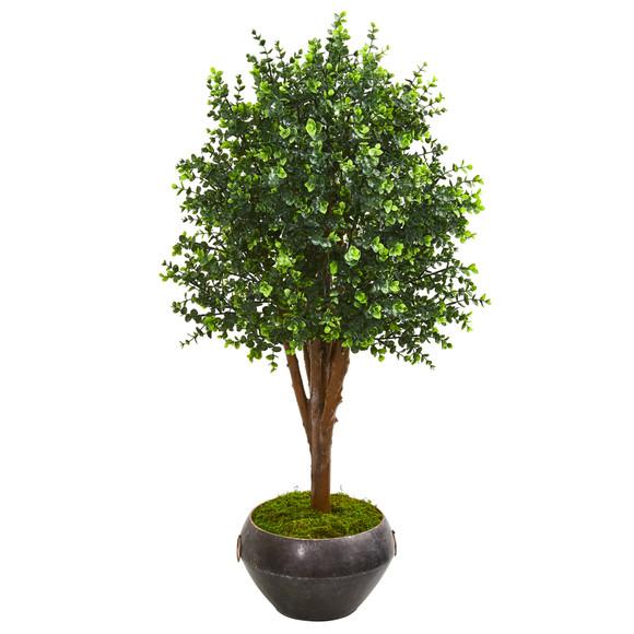 50 Eucalyptus Artificial Tree in Metal Bowl UV Resistant Indoor/Outdoor - SKU #9698