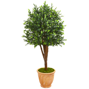 52 Eucalyptus Artificial Tree in Terra-Cotta Planter UV Resistant Indoor/Outdoor - SKU #9699