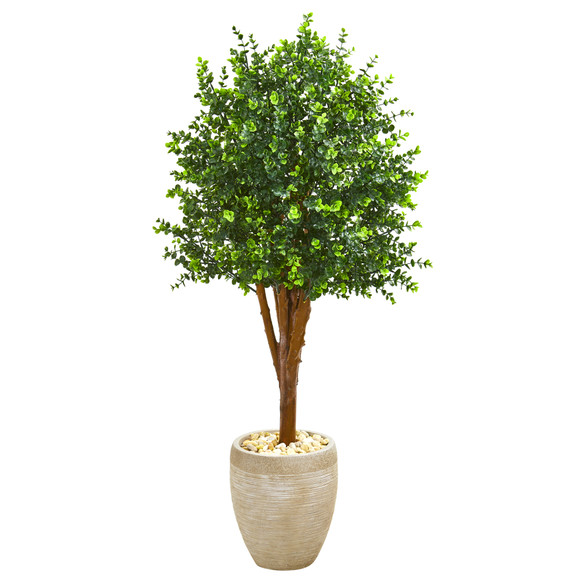 4.5 Eucalyptus Artificial Tree in Sandstone Planter UV Resistant Indoor/Outdoor - SKU #9700