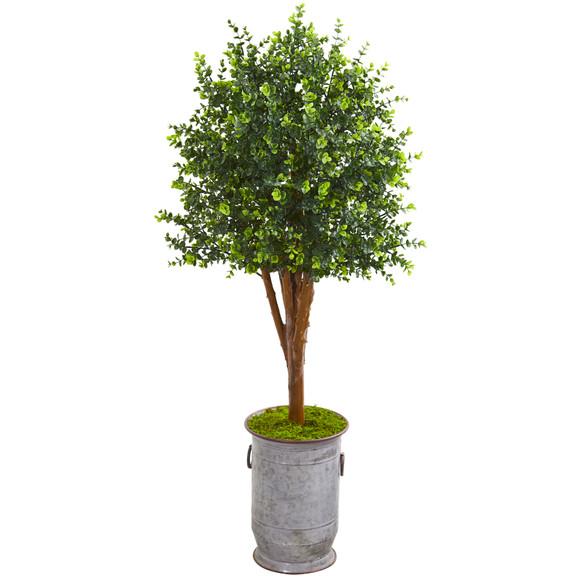 57 Eucalyptus Artificial Tree in Metal Planter UV Resistant Indoor/Outdoor - SKU #9701