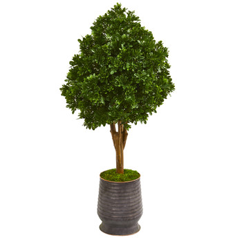 49 Tea Leaf Artificial Tree in Metal Planter UV Resistant Indoor/Outdoor - SKU #9704