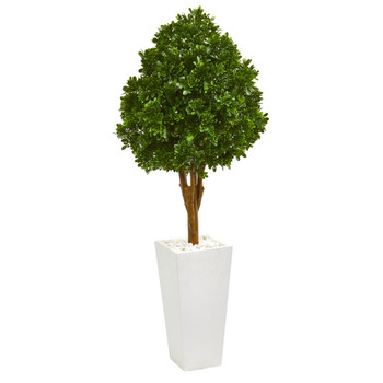58 Tea Leaf Artificial Tree in White Planter UV Resistant Indoor/Outdoor - SKU #9705