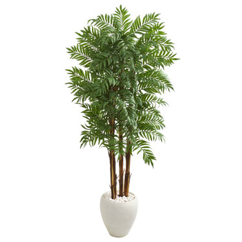 6 Parlour Artificial Palm Tree in White Planter - SKU #9706