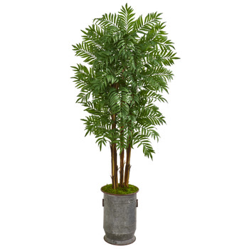76 Parlour Artificial Palm Tree in Copper Trimmed Metal Planter - SKU #9709