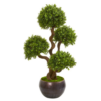 44 Four Ball Boxwood Artificial Topiary Tree in Planter - SKU #9710
