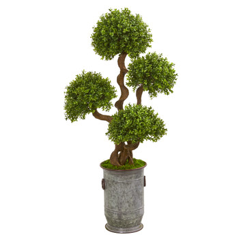 50 Triple Ball Boxwood Artificial Topiary Tree in Metal Planter - SKU #9711