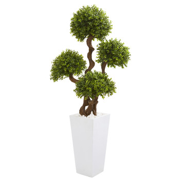 55 Four Ball Boxwood Artificial Topiary Tree in Tall White Planter - SKU #9712