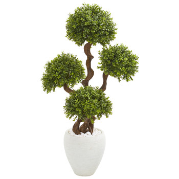 4 Four Ball Boxwood Artificial Topiary Tree in White Planter - SKU #9713