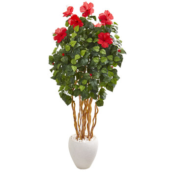 63 Hibiscus Artificial Tree in White Planter - SKU #9714