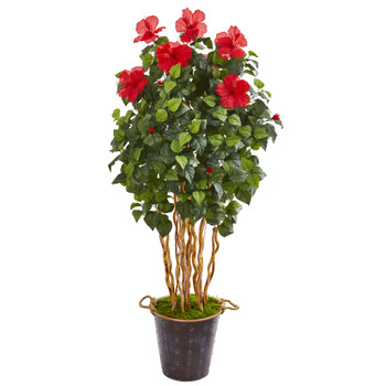 62 Hibiscus Artificial Tree in Decorative Planter - SKU #9715