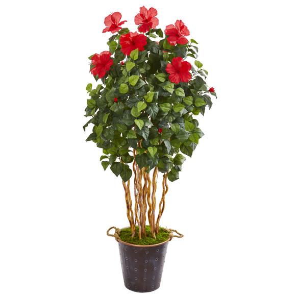 62 Hibiscus Artificial Tree in Decorative Planter - SKU #9715