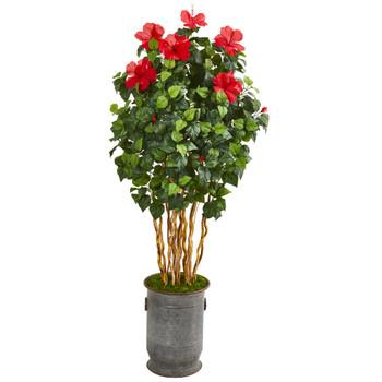 67 Hibiscus Artificial Tree in Decorative Planter - SKU #9716
