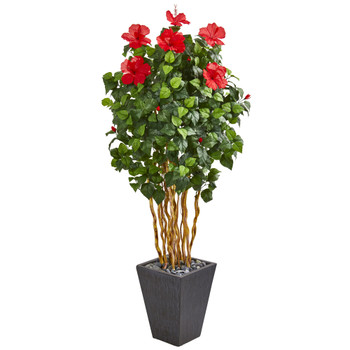 65 Hibiscus Artificial Tree in Slate Planter - SKU #9717