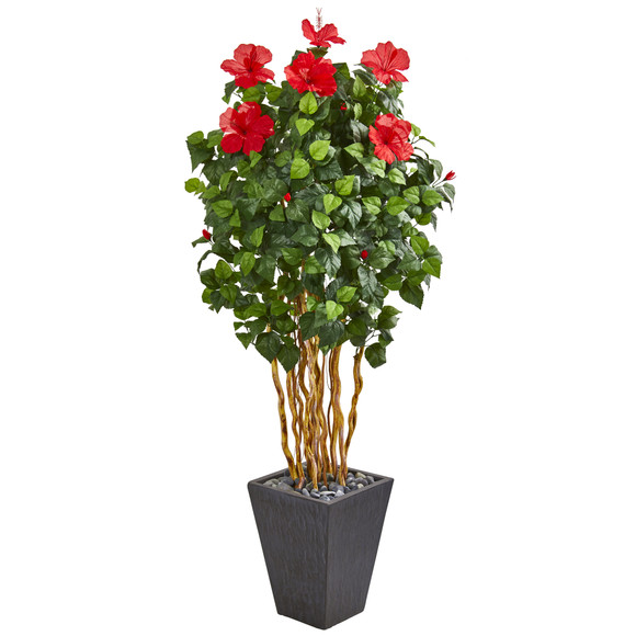 65 Hibiscus Artificial Tree in Slate Planter - SKU #9717