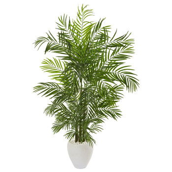 64 Areca Palm Artificial Tree in White Planter UV Resistant Indoor/Outdoor - SKU #9718