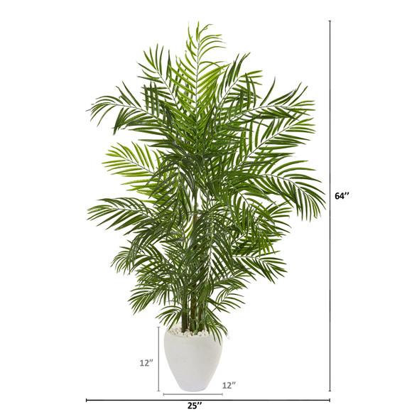 64 Areca Palm Artificial Tree in White Planter UV Resistant Indoor/Outdoor - SKU #9718 - 1