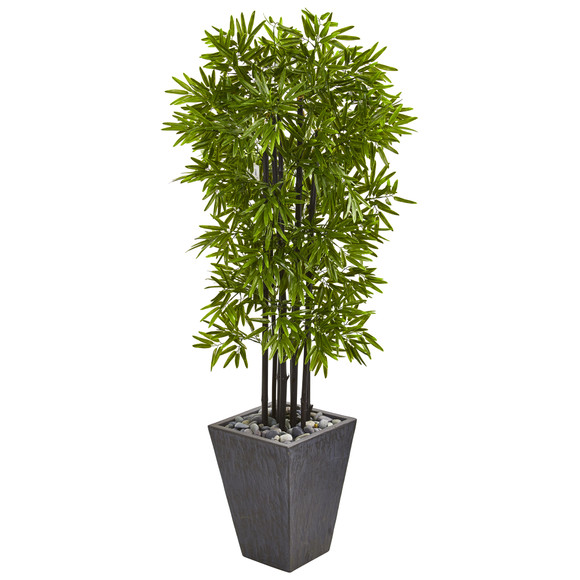 61 Bamboo Artificial Tree with Black Trunks in Slate Planter UV Resistant Indoor/Outdoor - SKU #9721