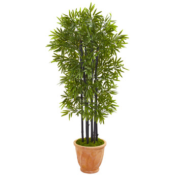 5 Bamboo Artificial Tree with Black Trunks in Terra-cotta Planter UV Resistant Indoor/Outdoor - SKU #9722