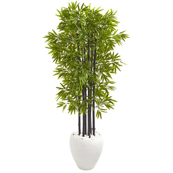 5 Bamboo Artificial Tree with Black Trunks in White Planter UV Resistant Indoor/Outdoo - SKU #9723