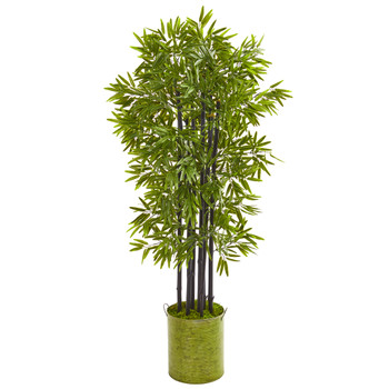 57 Bamboo Artificial Tree with Black Trunks in Green Planter UV Resistant Indoor/Outdoor - SKU #9724