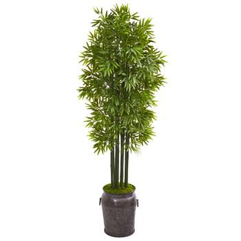 6 Bamboo Artificial Tree with Black Trunks in Planter UV Resistant Indoor/Outdoor - SKU #9726