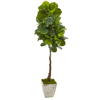 67 Fiddle Leaf Artificial Tree in Country White Planter Real Touch - SKU #9727