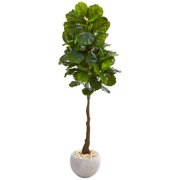 65 Fiddle Leaf Artificial Tree in Sand Colored Planter Real Touch - SKU #9728