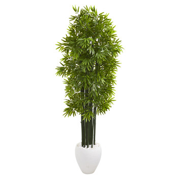 6 Bamboo Artificial Tree with Green Trunks in White Planter UV Resistant Indoor/Outdoor - SKU #9729