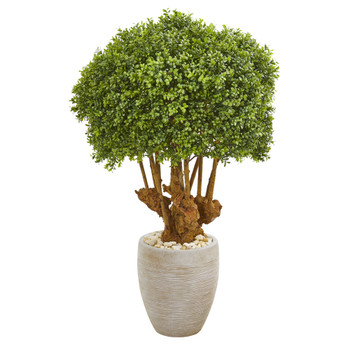 41 Boxwood Artificial Topiary Tree in Sandstone Planter Indoor/Outdoor - SKU #9730