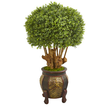 44 Boxwood Artificial Topiary Tree in Designer Planter - SKU #9731