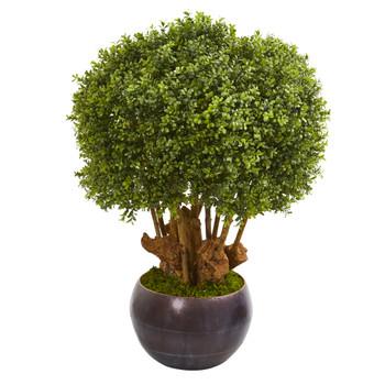 38 Boxwood Artificial Topiary Tree in Decorative Bowl Indoor/Outdoor - SKU #9732