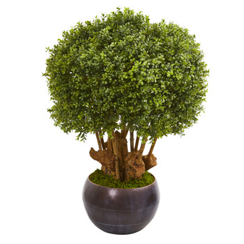 38 Boxwood Artificial Topiary Tree in Decorative Bowl Indoor/Outdoor - SKU #9732