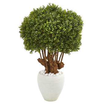 41 Boxwood Artificial Topiary Tree in White Planter Indoor/Outdoor - SKU #9733