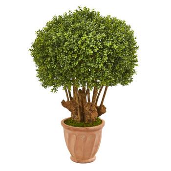 39 Boxwood Artificial Topiary Tree in Terracotta Planter Indoor/Outdoor - SKU #9734
