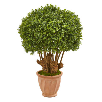 39 Boxwood Artificial Topiary Tree in Terracotta Planter Indoor/Outdoor - SKU #9734