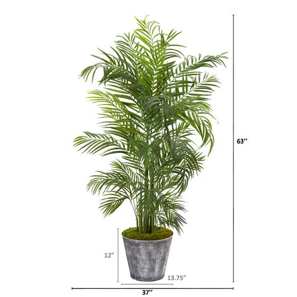 63 Areca Palm Artificial Tree in Decorative Planter UV Resistant Indoor/Outdoor - SKU #9736 - 1