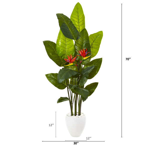 70 Bird of Paradise Artificial Plant in White Planter Real Touch - SKU #9738 - 1