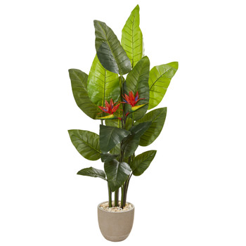 69 Bird of Paradise Artificial Plant in Sandstone Planter Real Touch - SKU #9739