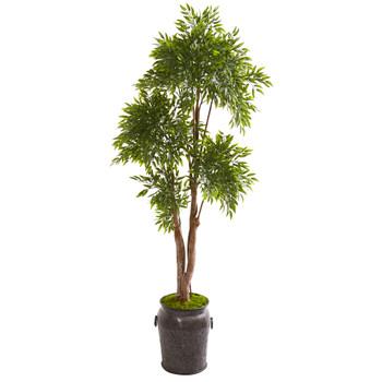 82 Ruscus Artificial Tree in Planter UV Resistant Indoor/Outdoor - SKU #9740