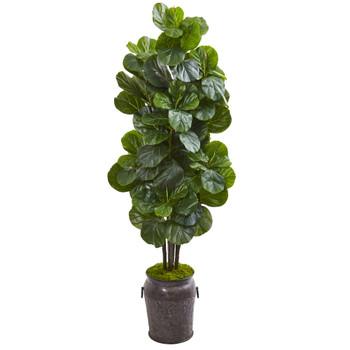 6 Fiddle Leaf Fig Artificial Tree in Metal Planter - SKU #9751