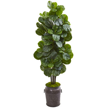 6 Fiddle Leaf Fig Artificial Tree in Metal Planter - SKU #9751