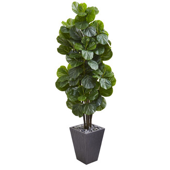 6 Fiddle Leaf Fig Artificial Tree in Slate Planter - SKU #9752