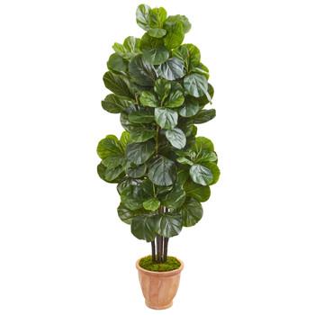 67 Fiddle Leaf Fig Artificial Tree in Terracotta Planter - SKU #9753