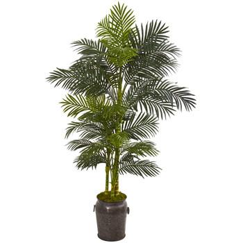 7 Golden Cane Artificial Palm Tree in Decorative Planter - SKU #9768
