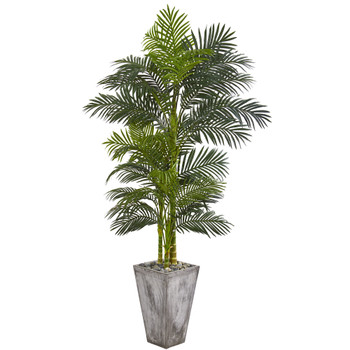7 Golden Cane Artificial Palm Tree in Cement Planter - SKU #9769