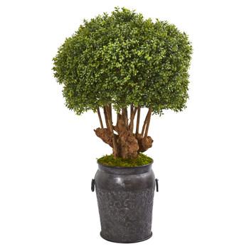 44 Boxwood Artificial Topiary Tree in Metal Planter Indoor/Outdoor - SKU #9770